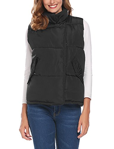 SE MIU Women's Packable Lightweight Quilted Outdoor Puffer Vest Jacket Hooded Coat with Pocket Black XXXL