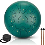 Steel Drum 13 Notes 12 inch Tongue Drum, Metal Hand Drum Steel Drums Percussion Instruments for Adults and Kids with Drum Mallets, Finger Picks and Carry Bag(12 inch, Green) (12in, Green)