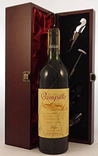 Rioja 1982 Campillo en una caja de regalo forrada de seda con cuatro accesorios de vino, 1 x 750ml