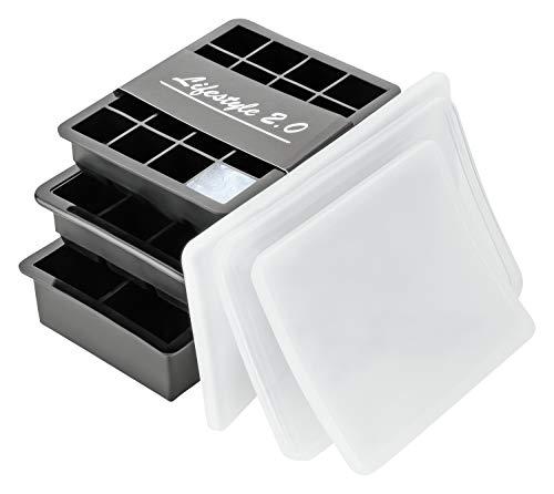 Lifestyle 2.0 Eiswürfelform Mit Deckel 3er Set Silikon-Formen Eiswürfelbehälter BPA-Frei Für Eiswürfel Klein Bis Groß (3 Deckel)