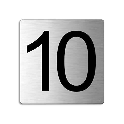 Plaque Numéro de porte 10 | 85x85 mm autocollant | acier inox brossé Nr.48310
