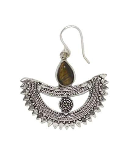 Urbiana Women Earrings, Silver Plated Brass Earrings, Bohemian Boat Stone Earrings (Brown)
