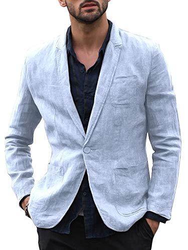 """Fueri, giacca da uomo in 100% lino, per il tempo libero, con bottoni, modello con vestibilità """"Slim Fit"""", estiva, casual A-cielo blu. XL"""
