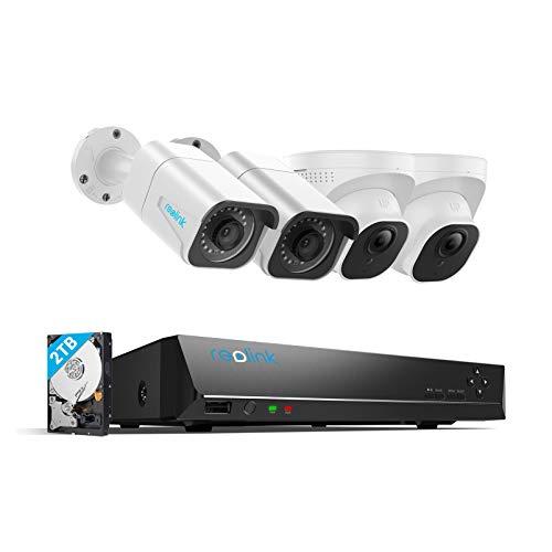 Reolink 4K Kit Videosorveglianza IP PoE, Sistema di Sorveglianza con 8CH 2TB NVR e 4X 8MP Telecamera Esterno Impermeabile, Visione Notturna di 30 Metri con Audio, Registrazione 24 7, RLK8-800B2D2-8MP