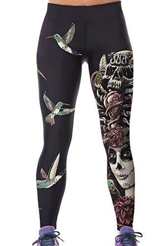 Zonsaoja Sport Yoga Hosen Damen Leggings Hohe Taille Schädel Gedrucktes Sporthose Black M