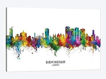 Birmingham Alabama Skyline City Name Frame Wall Art Canvas Paingting Home Decor For Living Room,Bedroom