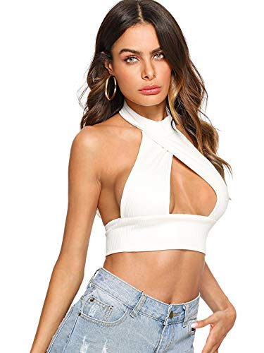 SheIn Women's Sexy Cut Out Halter Knit Ribbed Backless Crop Tank Top White Small