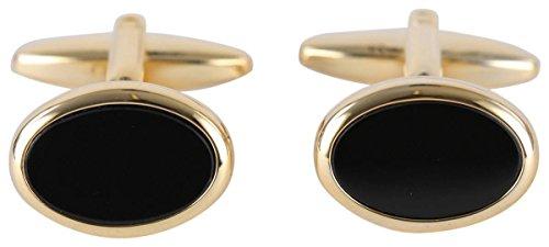 Plaqué Or Onyx ovale boutons de manchette de David Van Hagen
