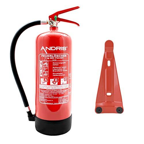 Feuerlöscher orig. ANDRIS® 6kg ABC Pulverlöscher mit Manometer EN 3 inkl. ANDRIS® Prüfnachweis mit Jahresmarke & Wandhalterung