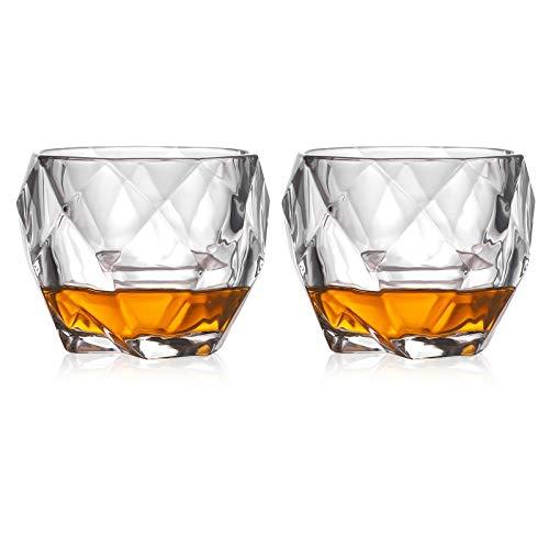 Hwtcjx Whiskey Gläser, Kristallglas, Rum gläser, Hergestellt aus hochdichtem Kristallglas, sicher und ungiftig, Dicker Boden, stilvolles Aussehen, für Whisky, Bier, Wein, Spirituosen (330ml, 2 Stück)
