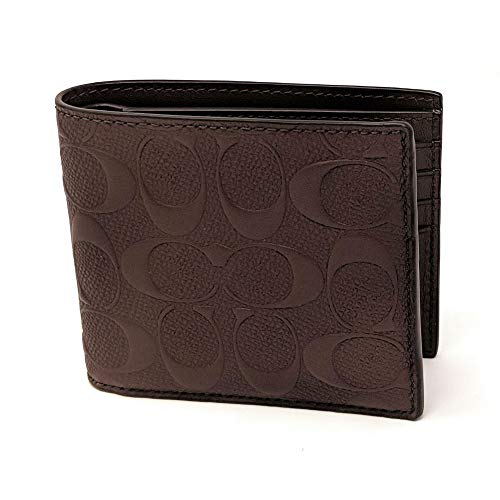 Coach Mens Compact Id Signature Crossgrain Leather Wallet in Brown, F75371 MAH