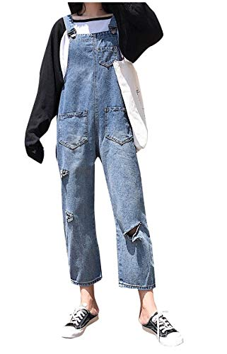 CuteRose Women Fashional Tenths Pants Overalls Washed Jeans Bib Playsuit Light Blue L