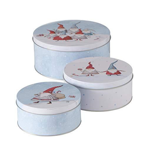 CasaJame 3er Set Metall Keksdose Plätzchendose hellblau weiß mit Weihnachtswichteln Sortiert H6-9cm