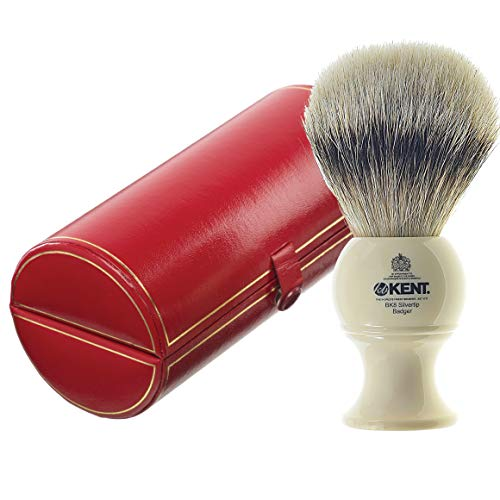 KENT BK8 Shaving Brush, Handcrafted Silver Tip Badger Bristle and Mock Ivory Base Shave Brush, for Shave Cream and Shaving Soap for a Perfect Lather, Kent Luxury Shaving Since 1777. Made in England