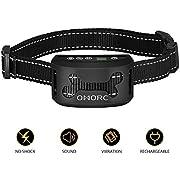 OMORC Harmless & Humane Anti Bark Dog Collar Intelligence USB Rechargeable Dog Anti Barking Collar No Spray No Shock for Small Medium Dogs,Black
