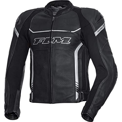 FLM Chaqueta combinada de piel para motorista con protectores deportivos, para todo el año negro / plata 32