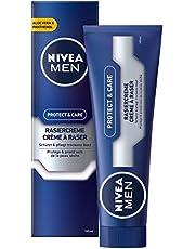 NIVEA MEN Protect & Care rakningskräm i 1-pack (1 x 100 ml), med krämigt skum för en mjuk rakning, hudonerande rakhålskräm för män