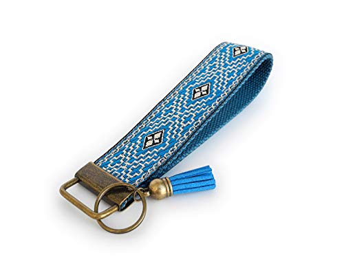Schlüsselanhänger aus Baumwolle mit Jacquardborte und Samt-Quaste   Farbe: Blau   16 x 3.2 cm