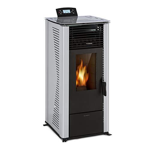 Waldbeck Energiewende - Caldera Estufa pellet sin humo, 5/10kW, 5 potencias, 5 velocidades, capacidad 18kg, consumo estufas de pellets 0,6-2,0 kg/h, para 60-250 m³, panel de control con pantalla, Gris