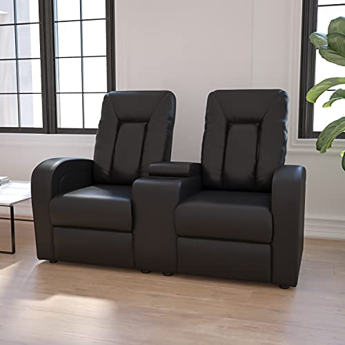 Hot Sale Flash Furniture 2-Seat Black Leather Home Theater Recliner with Storage Console