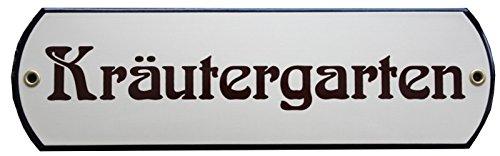 Kräutergarten Emaille Schild mit gerundeten Ecken 8 x 27 cm Emailschild beige.