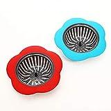 Creativa en forma de flor de cocina de silicona colador ducha fregadero cubrir el líquido del fregadero colador Alcantarilla filtro Accesorios de cocina rojo, azul