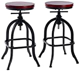 Adjustable Swivel Bar Stools for Kitchen Counter,Rustic Counter Height Bar Stools Set of 2 - Natural Wood Seat - Rustic Brown (033)