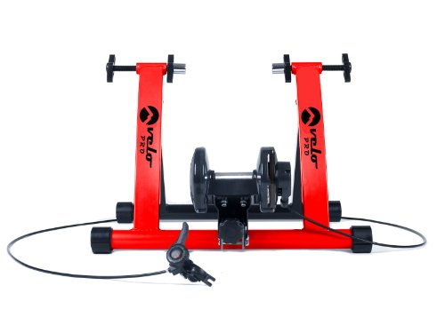 Velo Pro Turbo Trainer | Variable Resistance Magnetic Indoor Bike Trainer for Road & Mountain Bicycles | Stationary Exercise Bike Training Stand | Folding Steel Frame | 26' - 28', 700C Wheels (Red)