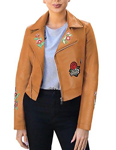 Damen Jacke Motorrad Vintage Blumenmuster Blumenstickerei Herbst Winter Langarm Revers Mit Reißverschluss Schlank Kurz Pu Kunstleder Lederjacke Bikerjacke Outwear