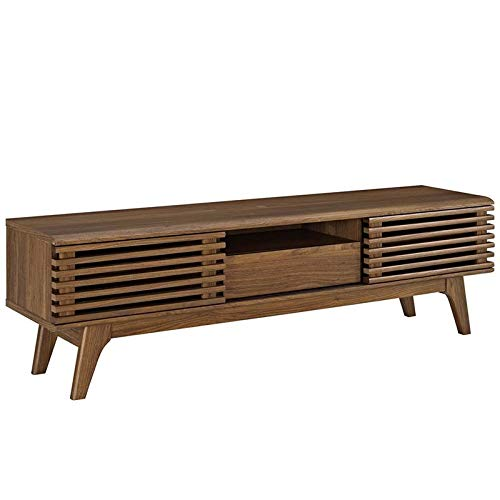 Levan Home Mid Century Modern 59' Retro TV Stand in Walnut, Slatted Shelves, TV Console Storage Cabinet