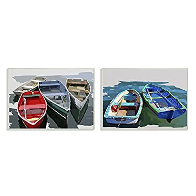 The Stupell Home Decor Collection Bold Brush Stroke Boats Stretched Canvas Wall Art, 16x20, Multicolor
