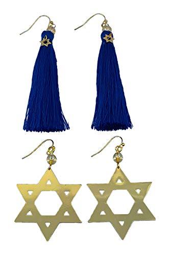 Star of David Hanukkah + Blue Hanukkah Earrings Combo