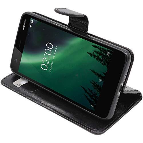 ebestStar - Cover Nokia Nokia 2 Custodia Portafoglio Pelle PU Protezione Libro Flip, Nero [Apparecchio: 143.5 x 71.3 x 9.3mm, 5.0'']