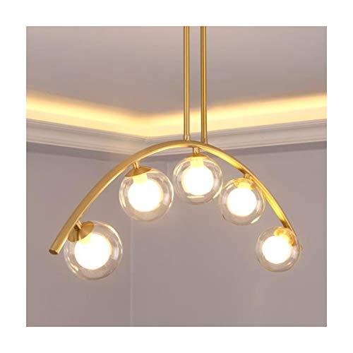 * Hanglamp, binnenlamp, kroonluchter, plafondlamp, woonkamer, decoratie, slaapkamer, eettafel, café, kleding, LED, Nordic koper, glazen bol.