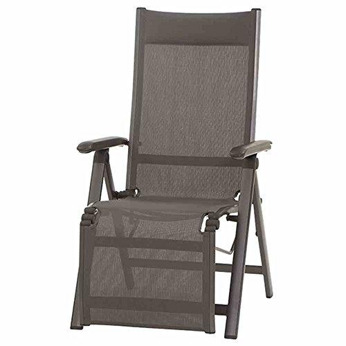 MWH Stuhl Core Aluminium Relax Sessel mit Textilene, dunkelgrau/grau/schwarz