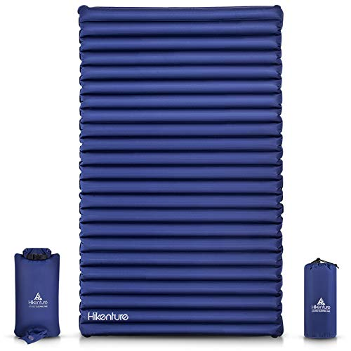 Hikenture Double Camping Pad with Pump Bag 2 Persons Sleeping Mat - Queen Size Inflatable Air Mattress - Light and Compact - for Backpacking,Car Camping,Hiking,Tent,Cot,Truck(Navy Pumpsack)