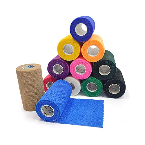 Self Adherent Cohesive Bandages Wrap 12 Count 4 inches x 5 Yards, Medical Tape, Adhesive Flexible...