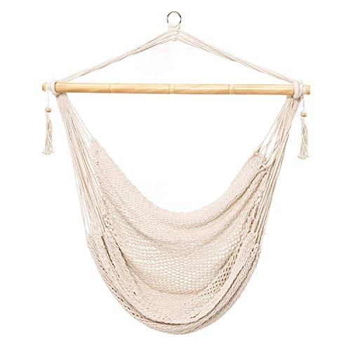 CCTRO Mesh Hammock Net Chair Swing, Hanging Rope Netted Soft Cotton Mayan Hammock Chair Swing Seat Porch Chair for Yard Bedroom Patio Porch Indoor Outdoor, 300 lbs Weight Capacity