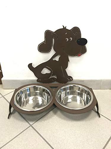 BA+ Hundeschüssel aus Edelstahl, mit Futternapf aus Eisen, Design Hund (46 x 44 x 20, Braun)