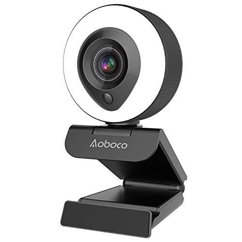 Webcam Streaming HD 1080p con micrófono dual y anillo de luz, USB Pro Web Camera Stream para Mac Windows Laptop Twitch Xbox One Skype YouTube OBS Xsplit