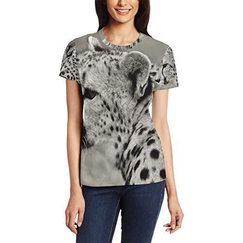 Cheetah kat dier Safari natuur vrouwen casual T-shirt korte mouw tuniek toppen ronde hals blouse Comfy