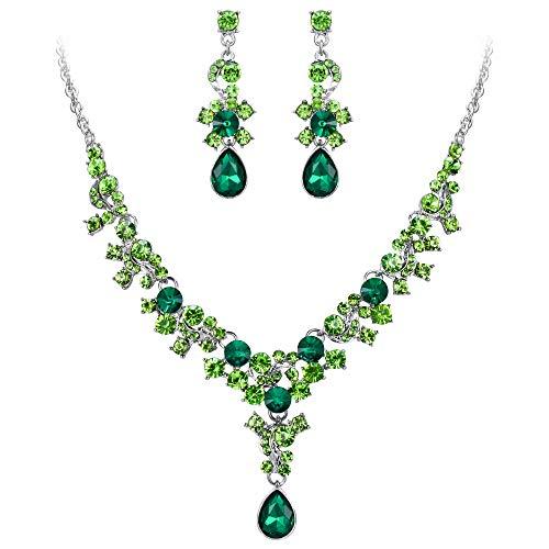 EVER FAITH Juegos de Joyas para Mujer Cristal Austríaco Flor Lágrima Collares Pendientes Conjunto Verde Tono Plateado