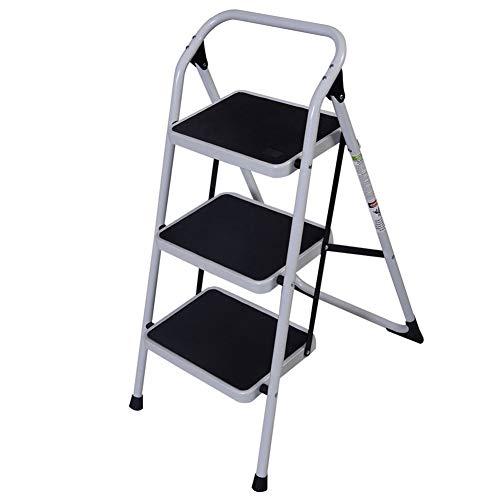 Korte leuning IJzeren Ladder, AKHAK 3-Step Thuis Gebruik Niet-slip Drie-Stap Korte leuning IJzeren Ladder Opvouwbare Platform Ladder Huishoudelijke Chores
