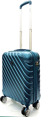 55x40x20cm Ryanair Size & EasyJet, BA, Jet2 Super Lightweight Cabin Approved Carry-ons Trolley 8 Wheeled Luggage Bag (FITS Within 56 x 45 x 25cm) (21' Ryanair, Dark Cyan)