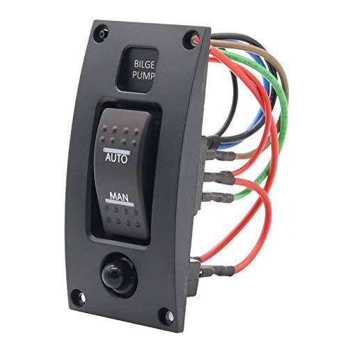 12-24V Interruptor de Bomba de Arena Alarma Impermeable Barco de la Cubierta Panel de Control de Limpieza para Bombas de biela de Bote ON/Off/ON Control (Color : Black)