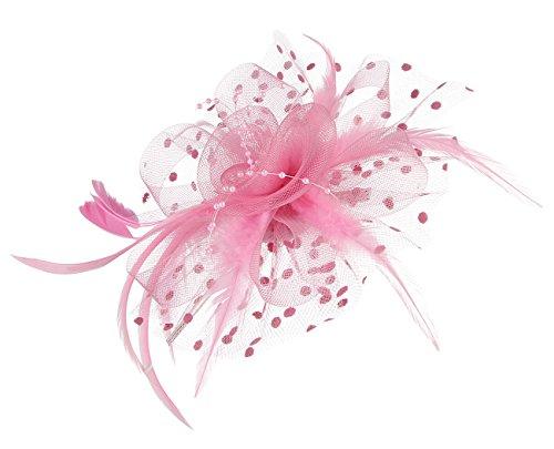 GEMVIE Damen Vintage Fascinator Clip mit Federn Haarreif Haarschmuck Blumen Hochzeit Rosa