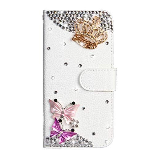 LMFULM® Hülle für Honor 5C / Huawei 7 Lite/Huawei GT3 (5,2 Zoll) PU Leder Magnet Brieftasche Lederhülle Bling Glitter Strass Krone Stent-Funktion Tasche Flip Cover