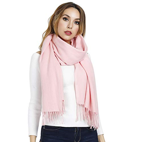 Écharpe d'hiver douce et chaude - Taille L - Couleur Unie, pour femmes et hommes - 203 x 70 cm - Rose - Large