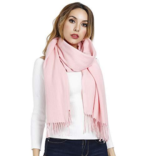Gogogoal - Bufanda de invierno para mujer, gruesa, cálida, monocolor, talla grande Rosa. Talla única