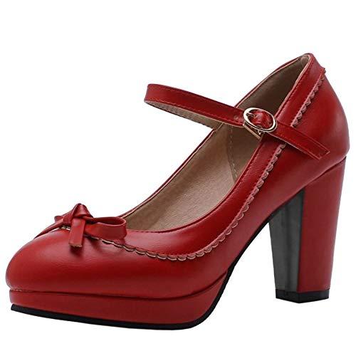 Lydee Mujer Zapatos Dulce Bow Pumps Correa Partido Zapatos Tacon Ancho Plataforma Costume Footwear Red Tamaño 38